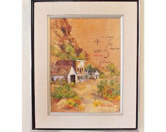 framed vintage painting - desert western style art - Salome on Yucca by Marjorie Schumacher