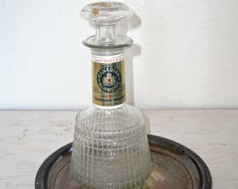 canadian whiskey decanter - vintage glass liquor bottle for home bar - ornate barware - wedding decor gift - mad men hipster style
