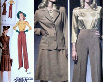 Sewing Pattern, Simplicity 3688 40's Wardrobe Reproduction, Blouse, Skirt, Pants and Jacket, Sizes 10-18 Bust 32.5-40, Uncut FF, WWII Era