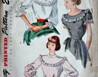 Vintage 40's Simplicity 2483 Sewing Pattern, Misses' Yoked Blouse, Size 12, 30 Bust