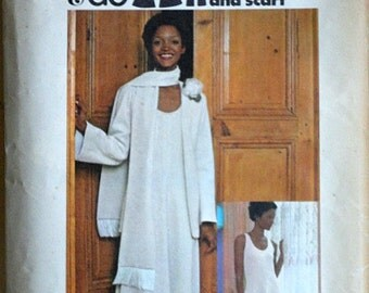 Vintage 70's Butterick 3993 Sew & Go Sewing Pattern, Misses' Evening Jacket, Dress and Scarf, Size 10, 32.5 Bust, Retro