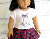 Hip Kitty Tee Shirt and Pleated Skirt, American Made Girl Doll Clothes Top and Skirt Outfit