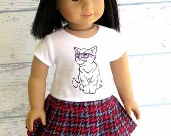 Hip Kitty Tee Shirt and Pleated Skirt, American Girl Doll Clothes Top and Skirt Outfit