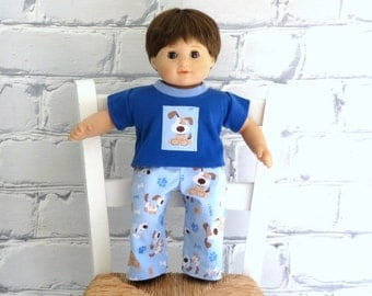 """Boy Doll Pajamas, 15"""" Boy Doll Clothes, Bitty Baby Clothes, Bitty Twin PJs, Puppy Pajamas"""
