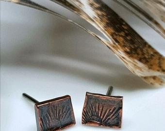 Tribal Sun Unisex Studs, Men's Copper Studs, Women's Post Earrings, Industrial, Dark Patina, Distressed Sun Symbols, Sterling Silver Posts