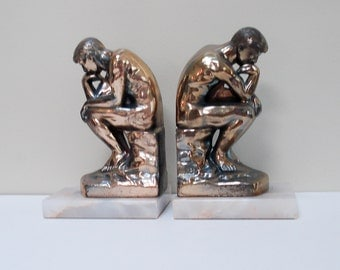 Vintage metal and marble bookends  - Rodin's the Thinker - 1928