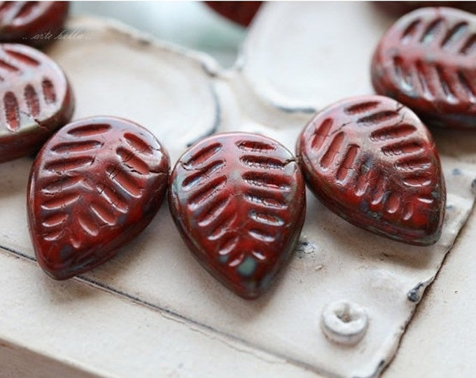 RED ASPEN .. 6 Premium Picasso Czech Glass Leaf Beads 16x12mm (5104-6)
