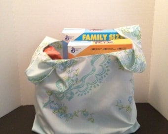 Reusable Market Tote / Grocery Bag / Gift Bag / Created From Repurposed Fabric / Machine Wash and Dry