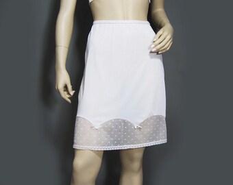 Vintage 60s Half Slip Pink Nylon Sheer Hem Polka Dots Lorraine S