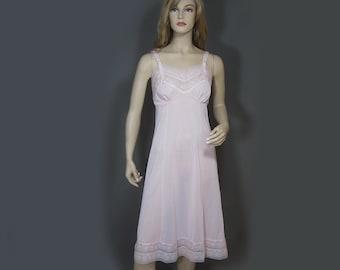 Vintage 50s Full Slip Pink Nylon Silky Chiffon Lace Overlay Phil Maid 36