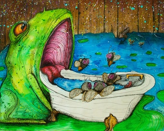 "Frog Art // Frog Decor // Bathroom Art Print // ""Pond Hacks"" by Far Out Arts"