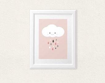 Cute cloud on pink - playroom nursery babyshower home decor - 8x10 on A4