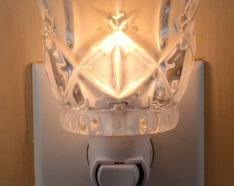 Clear Glass Votive Candleholder Custom Made Night Light With Scalloped Top and Diamond Pattern