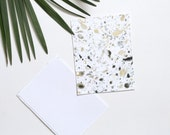 Marbled A2 Notecard Set of Two - Black and Gold - Speckled Cosmic Stationery - Blank Card - Modern Correspondence