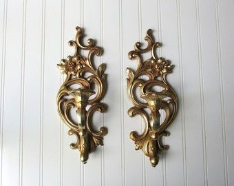 Pair Vintage Syroco wall sconce candle votive holder gold tone plastic Hollywood Regency BoHo