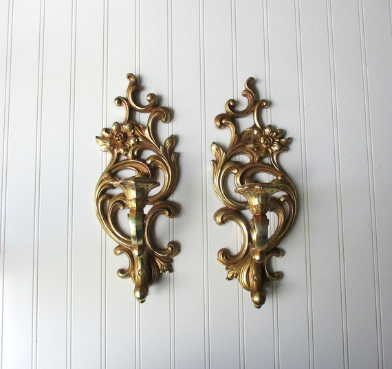 Pair Vintage Syroco wall sconce candle votive holder gold tone