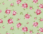 Sale - 2 yards Rosey by Tanya Whelan - Little Roses TW062 Green
