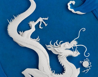 Sea Dragon - 8 x 10 art print of an original paper sculpture by Tiffany Budzisz