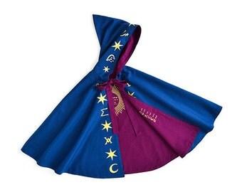 Wizard Cloak - Magician Cape - Sorcerer Costume - Alchemy Wizard Cape - Gold Star Cape - Costume Dress Up