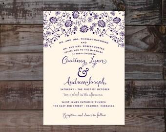 Vintage Wedding Invitations, Wildflowers, Vintage Invitations, wedding invitation templates, Rustic Wedding Invitations, Navy Invitation