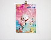 2016 calendar. Mermaid 2016 wall calendar. Waldorf doll 2016 Planner. Waldorf calendar. Fantasy 2016 paper calendar. Marine Pink calendar