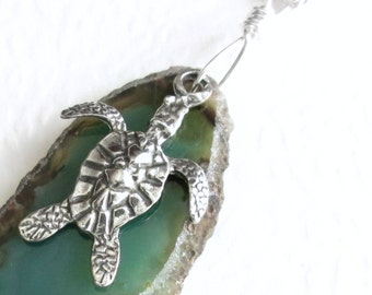 Sea Turtle Pendant, Green Agate Slice Necklace, Ocean Animal Jewelry