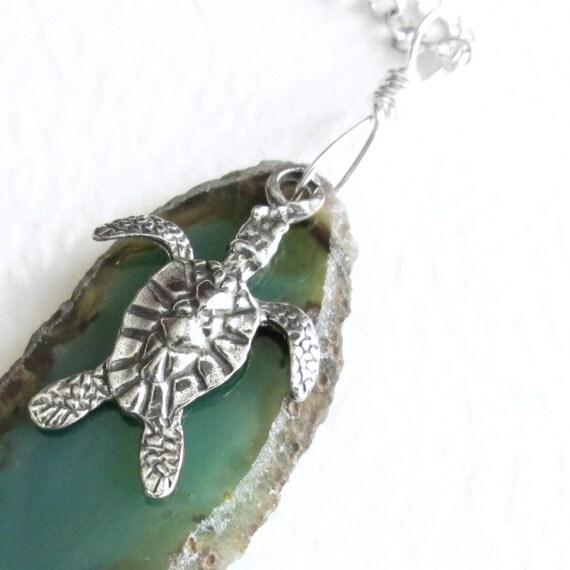 Sea Turtle Pendant, Green Agate Slice Necklace, Ocean Animal Jewelry