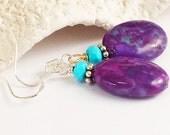 Kingman Turquoise Earring/Sleeping Beauty Turquoise Earring/Silver Turquoise Earring/Bali Silver/Turquoise Jewelry/Blue and Purple Turquoise