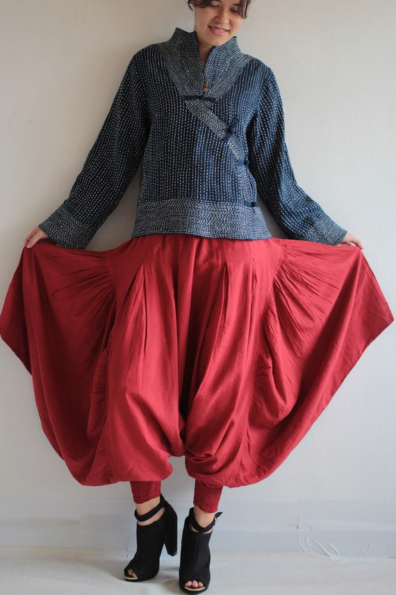 Sugar in my bowl ......cotton mix silk and linen  (1135) /Hippie pants / funky pants / wide pants Available in size M,L,