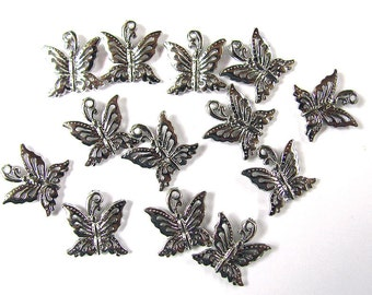 12 Silver Butterfly Charms 14X15mm