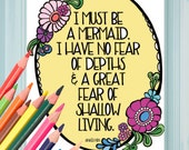 Mermaid Coloring Page - Digital Download Anais Nin Quote - A Colorful World Suf & Sun by Alexine and Lori Goldwag - Adult Coloring Book