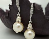 Vintage Style Bridal Earrings, Teardrop Wedding Earrings, Ivory Pearl Earrings, Bridal Jewelry,Drop Pearl Earrings Wedding Jewelry  brides