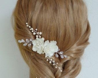 Silk Flower Bridal Hair pins Wedding Hair Clips Crystal Hairpins Pearl Hair Comb Wedding Hair Flowers Flower Hair Comb Bridal Headpieces