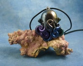 Deep Space Octopus Necklace - Handmade Polymer Clay Necklace