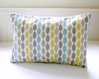 blue retro decorative pillow cover, grey yellow lime, beige lumbar cushion cover 12 x 16 inch