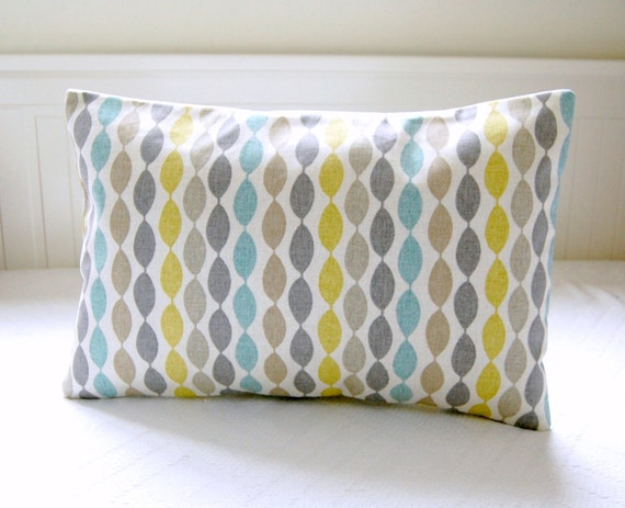blue retro decorative pillow cover grey yellow lime beige