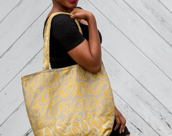 Mustard and Aluminum Gray Tote Shopping Bag Yellow and Gray Signature Bag