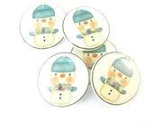 """5  Snowman Buttons. Handmade Buttons. Snowman Winter Sewing Buttons. 3/4"""" or 20 mm."""
