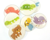 "7 Nature Themed Bear, Bird, Bee, Turtle, Dragonfly, Caterpillar Decorative Sewing Buttons.  3/4"" or 20 mm  Buttons for Sewing."