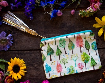 Watercolor Forest Pouch - Handmade Bag - Katie Daisy Painting
