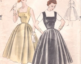 Vogue 8394 1950s Misses Dress Jumper Pattern Button Back Close Full Skirt  Day Evening Womens Vintage Sewing Pattern Size 12 Bust 30