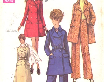 1960s Simplicity 8502 Misses Double Breasted Mini and Maxi Coat and Pants Pattern Womens Vintage Sewing Size 10 Bust  32 OR 12 B 34