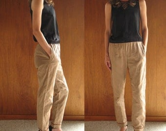 DRIES VAN NOTEN quilted silk rose taupe pants, s 4 36