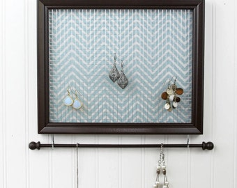 Hanging Jewelry Organizer- Brown Framed Jewelry Holder- Upcycled 8x10 Picture Frame