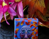 2x2 Owl Painting Dollhouse Mini Tiny Art on Stretched Canvas With/Without EaselCreationarts