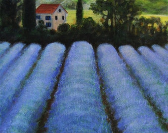 "French Lavender Field Landscape Original Painting signed Acrylic   11""x14"""