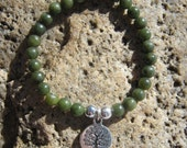 Jade Mala Bracelet - prayer beads - Buddhist rosary with Bodhi Tree charm - 27 beads - green