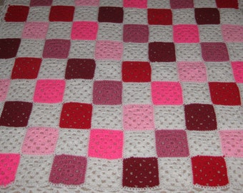 Granny Square Pink White Princess Crocheted Afghan Checker Board Breast Cancer Lace OOAK