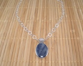 Blue Kyanite Silver Necklace Large Stone Pendant Artisan Blue Stone Silver Necklace Kyanite Pendant Shimmery Big Blue Gemstone Necklace
