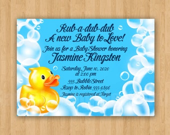 Rubber Ducky Bubble Baby Shower Invitation Digital  ADORABLE